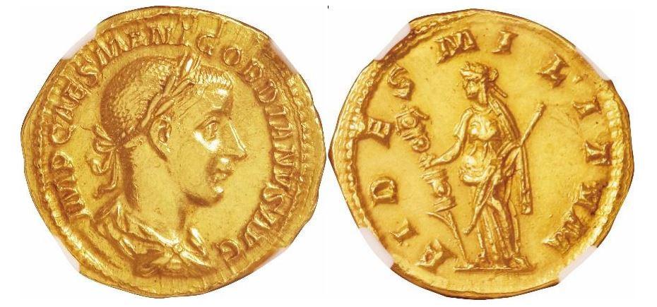 Römisches Reich. Gordian III (238-244 n. Chr.). Gold Aureus. NGC Ch AU - Prägung: 5/5; Oberfläche: 3/5. Sear# 8568.