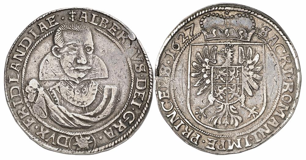 Albrecht von Wallenstein, 1623-1634. Reichstaler 1627, Jitschin. Sehr schön.
