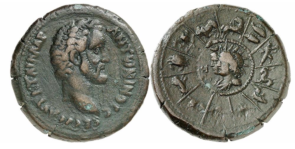 Alexandria. Antoninus Pius, 138-161. Drachme, Jahr 8 (= 144/5). Rv. Zodiacus, in der Mitte Helios und Selene nebeneinander n. l. Vielleicht das besterhaltene Exemplar dieses Typs. Aus Sammlung Dattari. Sehr schön.