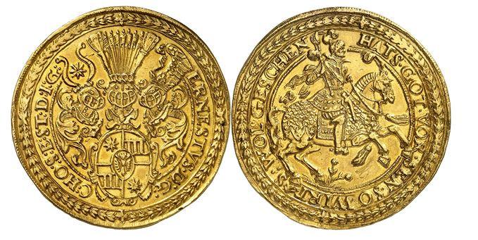 396 - Holstein-Schauenburg. Ernst III., 1601-1622. 10 Dukaten o. J., Altona. Äußerst selten. Vorzüglich. Taxe: 150.000,- Euro. Zuschlag: 190.000,- Euro.