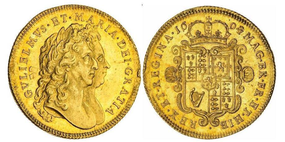 Großbritannien. William und Mary. Gold 2 Guineen. 1694/3. NGC MS63+ Prooflike. KM# 482.1.