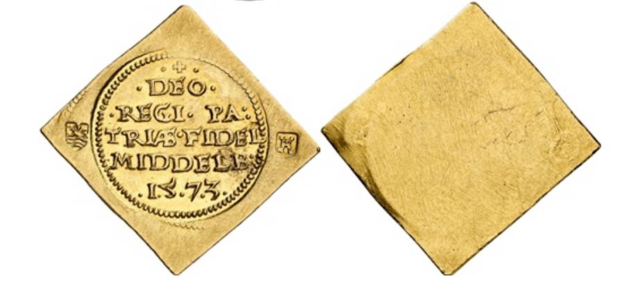 Middelburg / Stadt. Klippe zu 1 Krone 1573, geprägt während der Belagerung durch die Truppen der Generalstaaten. Sehr selten. Vorzüglich bis Stempelglanz.