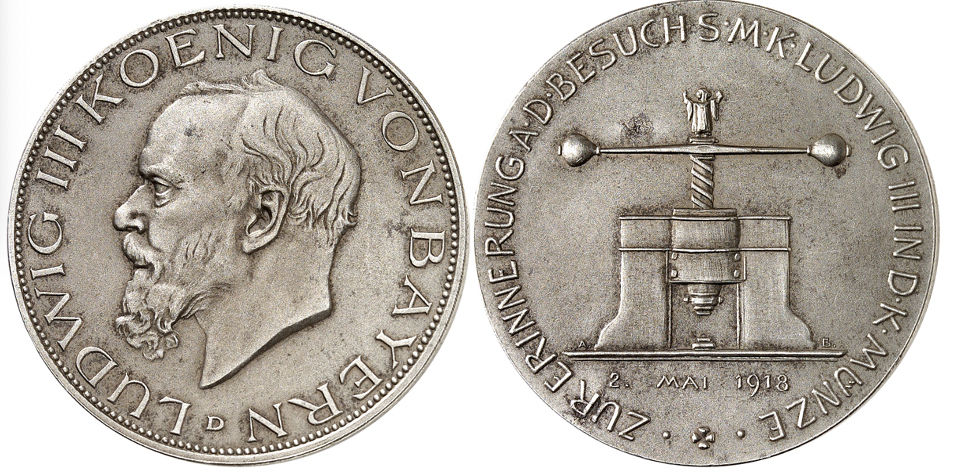 Deutsches Kaiserreich. Ludwig III., 1913-1918. Gedenkmünze in 3-Mark-Größe 1918 in Eisen auf den Münzbesuch des Königs. Sehr selten. Mattiert. Winziger Korrosionsfleck. Prägefrisch.