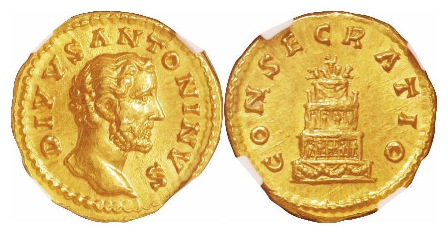 Römisches Reich. Antoninus Pius (138-161 n. Chr.), Posthume Ausgabe. Gold Aureus. NGC MS - Prägung: 5/5; Oberfläche: 4/5. Sear# 5189.
