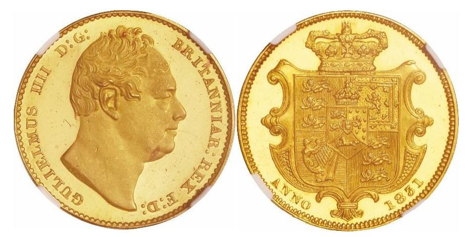 Großbritannien. William IV. Gold Proof Sovereign. 1831. NGC PF62 ULTRA CAMEO. KM# 717.