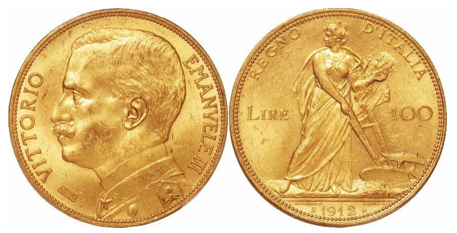 Italien. Vittorio Emanuele III. Gold 100 Lire. 1912-R. PCGS MS63+. KM# 50.