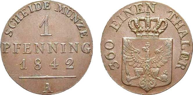 Friedrich Wilhelm IV., Pfennig, Kupfer, 1842. [Bildquelle: MA-Shops, Münzenhandlung Brom].