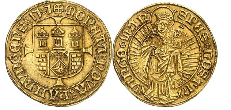 195 - Hamburg. 6 Goldgulden 1505. Erste deutsche Großgoldmünze. Einziges bekanntes Exemplar in Privatbesitz. Sehr schön bis vorzüglich. Taxe: 400.000 Euro. Zuschlag: 450.000 Euro.