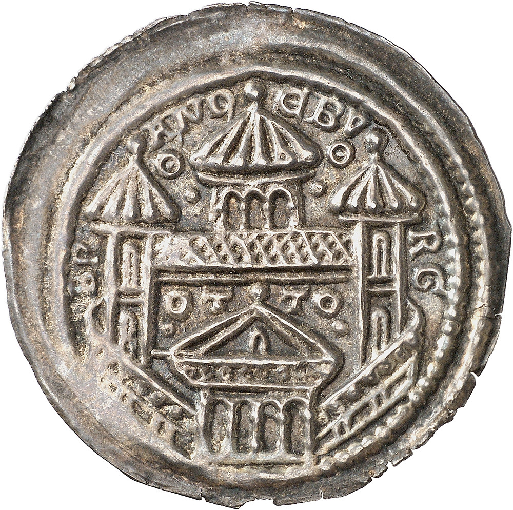 Otto I., (1157) 1170-1184. Brakteat, 1157-1170, Brandenburg. Mauerring, darüber BR-AND-EBV-RG und OT-TO. Sehr selten.