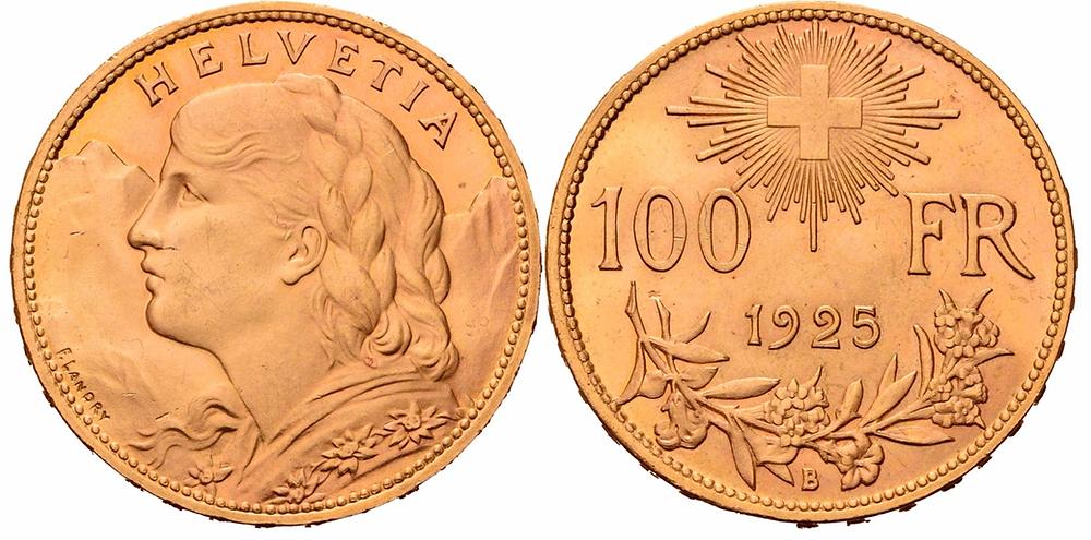 Schweiz. Bundesstaat seit 1848. 100 Franken.
