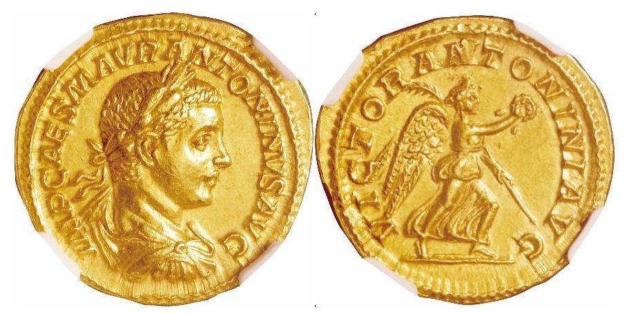 Römisches Reich. Elagabal (218-222 n. Chr.). Gold Aureus. NGC Ch AU - Prägung: 5/5; Oberfläche: 4/5. Sear# 7485.