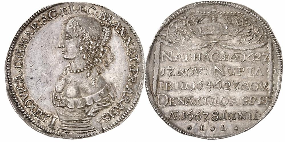 """Friedrich Wilhelm """"Der Große Kurfürst"""", 1640-1688. Auf den Tod seiner Gemahlin Luise Henriett  e am 18. Juni 1667. Reichstaler 1667, Berlin. Sehr selten. Vorzüglich bis Stempelglanz."""