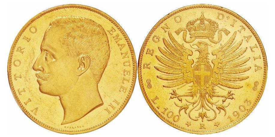 Italien. Vittorio Emanuele III. Gold 100 Lire. 1903-R. PCGS MS62. KM# 39.