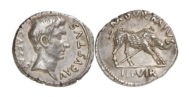 Römische Kaiserzeit. A  ugustus, 27 v. Chr. - 14 n. Chr. Denar, 18 v. Chr. Selten. Aus der Sammlung eines hanseatischen Römerfreundes. Gutes sehr schön / Fast vorzüglich.