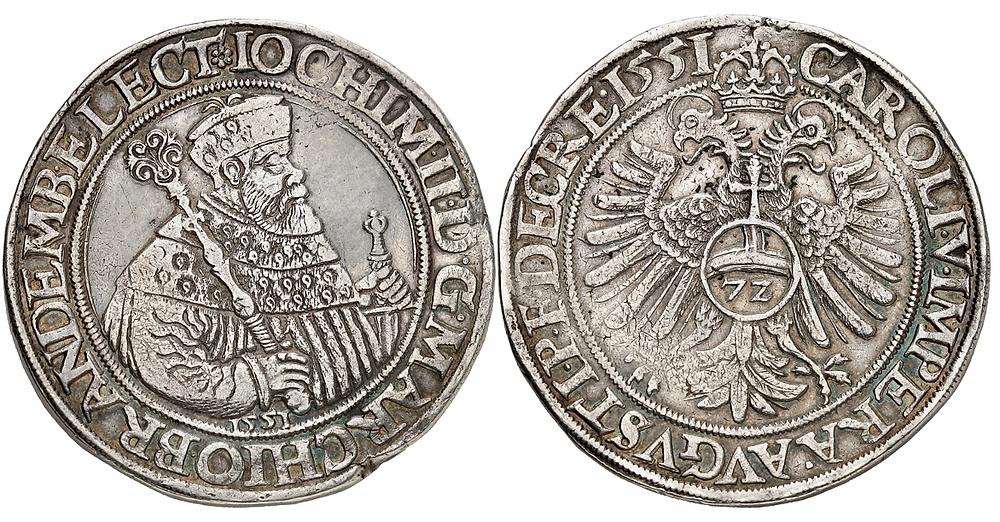 """Joachim II., 1535-1571. Reichsguldiner 1551, Berlin. Äußerst selten. Sammlerzeichen """"K"""". Sehr schön."""
