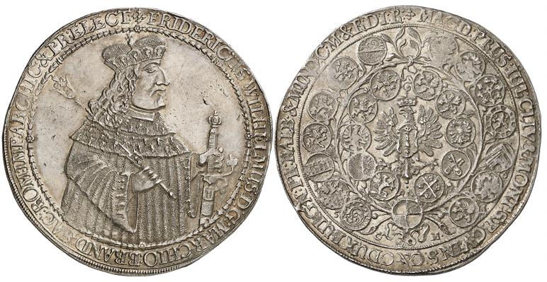 """Friedrich Wilhelm """"Der Große Kurfürst"""", 1640-1688. Breiter doppelter Reichstaler 1653, Königsberg. Sehr selten."""
