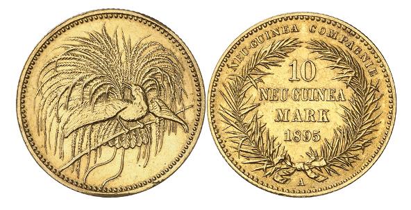 Deutsches Kaiserreich. Deutsch-Neu-Guinea. 10 Neu-Guinea-Mark 1895. Nur 2.000 Exemplare geprägt. Vorzüglich.