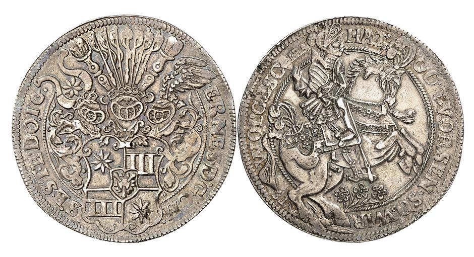 Holstein-Schauenburg. Ernst III., 1601-1622. 1 1/2facher Reichstaler o. J., Altona. Sehr selten. Sehr schön.