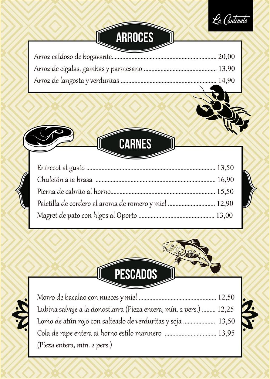 Carta restaurante Badalona