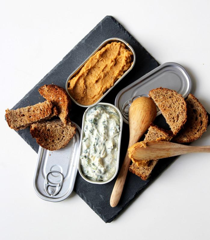 Dips apéro : houmous patate douce et artichaut fromage frais