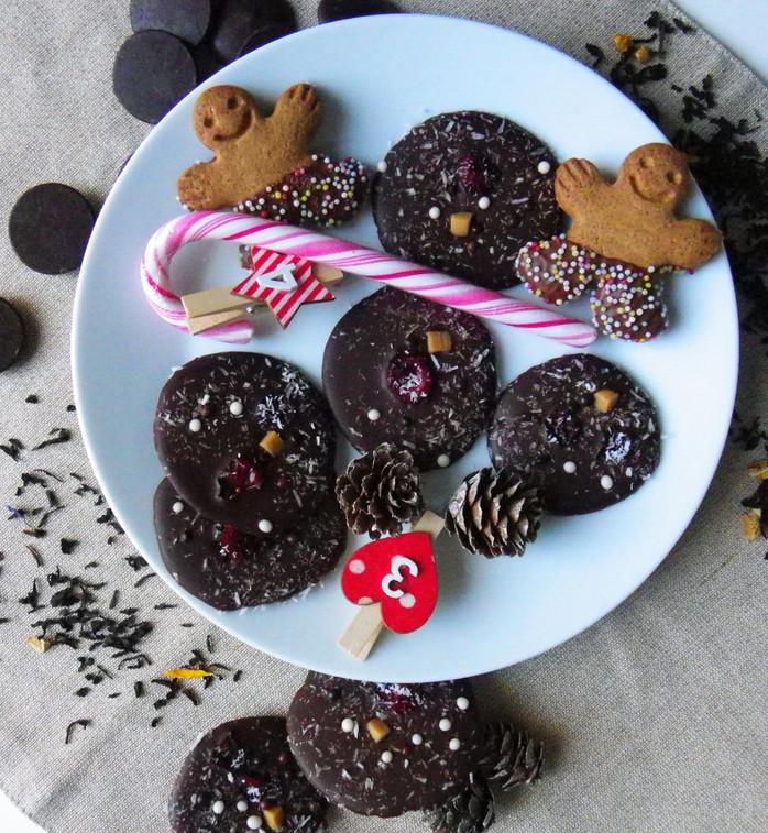 Mendiants de Noël noix de coco et cranberries