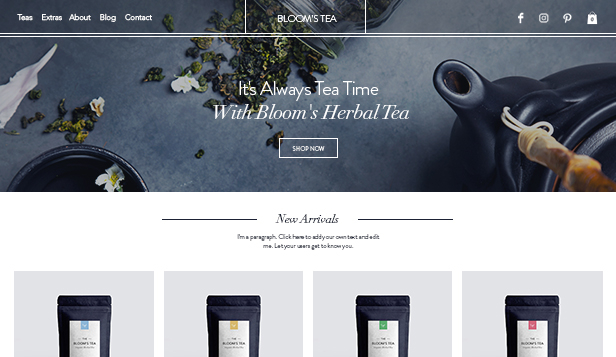 Online Store website templates – Tea Shop