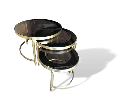 French Nesting tables in Brass