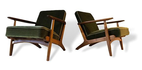 Pair of Oak & Teal Danish lounge Chairs