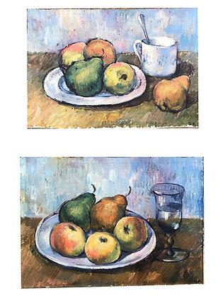 Pair of oil on board paintings