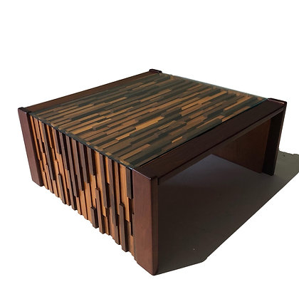 Brutalist Rosewood Coffee Table by Percival Lafer