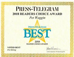 2018 Pet Waggin Best Press Telegram Award