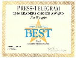 2016 Pet Waggin Best Press Telegram Award