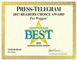 2017 Pet Waggin Best Press Telegram Award