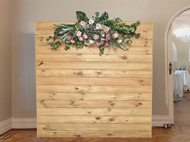 Beautiful Rustic Wood backdrop with floral arrangement