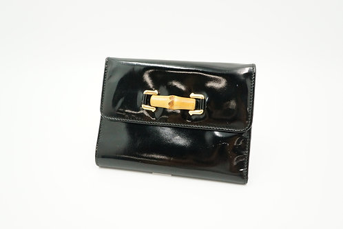 Gucci Bamboo Line Compact Wallet in Black Patent Leather