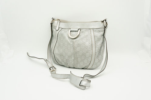 Gucci D-Ring Shoulder Bag in Silver Guccissima Leather