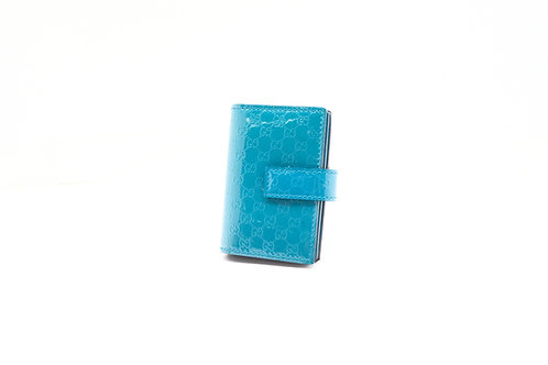 Gucci Micro-Guccissima Card Case in Teal Patent Leather
