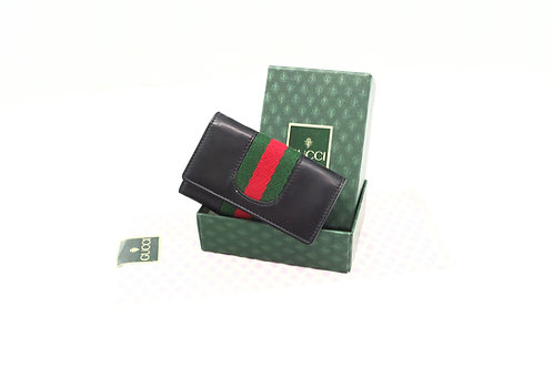 Gucci Sherry Line Key Case in Black Leather