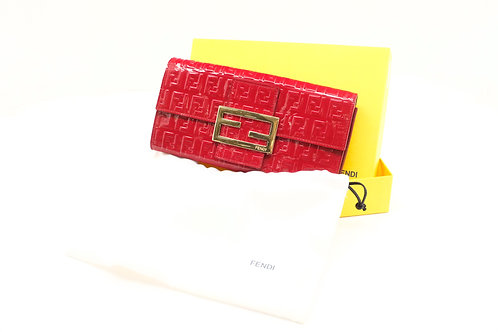 Fendi Zucca Long Wallet in Red Patent Leather