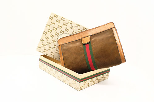 Gucci Sherry Line Clutch in Brown Suede