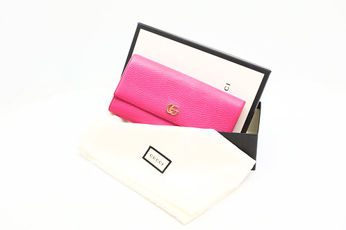 Gucci Marmont Long Wallet in Fuchsia Textured Leather