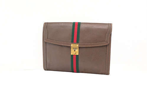 Gucci Vintage Sherry Line Clutch in Brown Leather