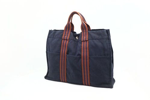 Hermes Fourre-Tout MM Tote Bag in Red x Navy Cotton Canvas