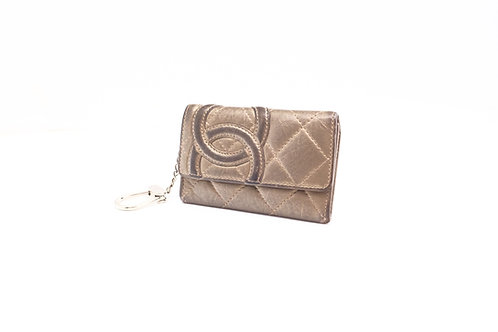 Chanel Cambon Line Coin Case in Metallic Matelasse Leather