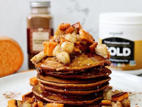 Sweet Potato Pumpkin Spice Pancakes