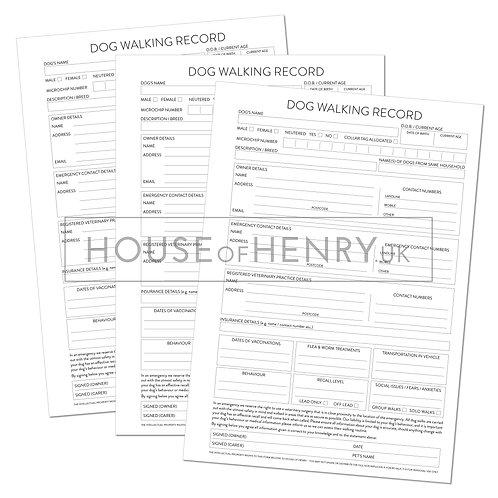 dog walking record sheet (with hole punch margin)