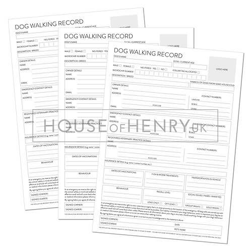 dog walking record sheet (branded, without hole punch margin)
