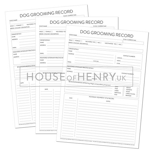 dog grooming record sheet (without hole punch margin)