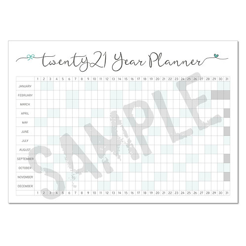 2021 year planner – teal