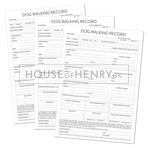 dog walking record sheet (without hole punch margin)